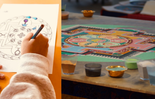 Photo of middle school student by Andrew Mitchell from BEPS International School and of sand mandala by Marco Mameli from Unsplash