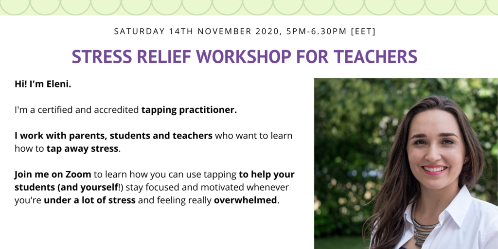 apping for parents, Stress relief workshop with Eleni Vardaki